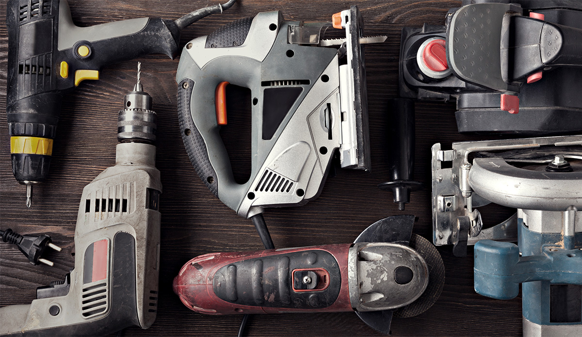 Equipment tools on a tabletop
